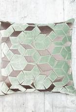 Kreatelier Deco Cut Velvet Pillow in Soft Mint 16 x 16in
