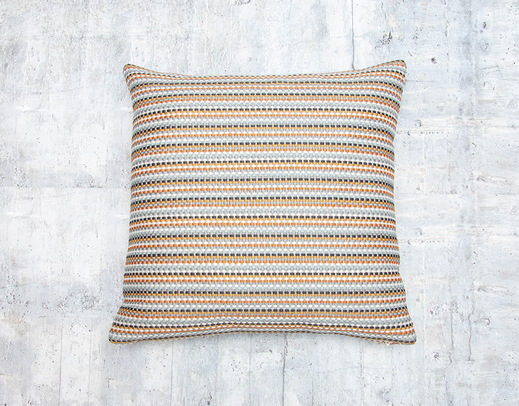Kreatelier Embroidered Striped Pillow in Rust and Grey 17 x 17in
