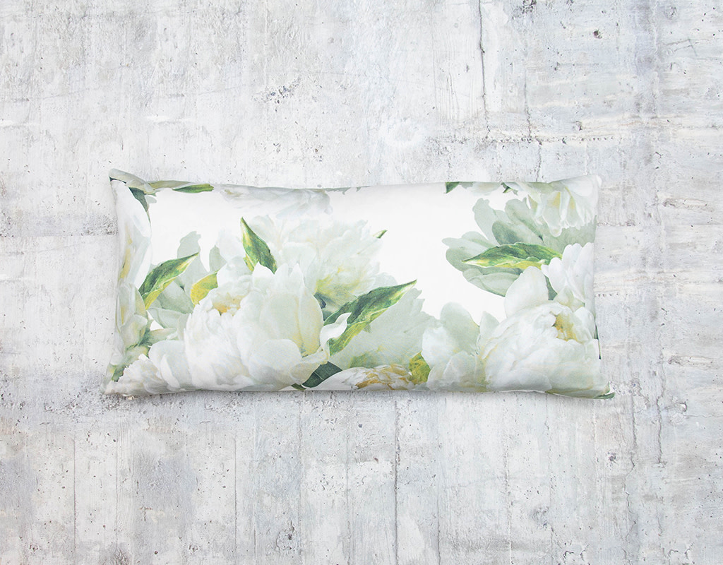 Kreatelier Floral Pillow in Green and White 10 x 20in