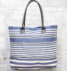Dash & Albert Rugby Stripe Denim Indoor/Outdoor Tote Bag