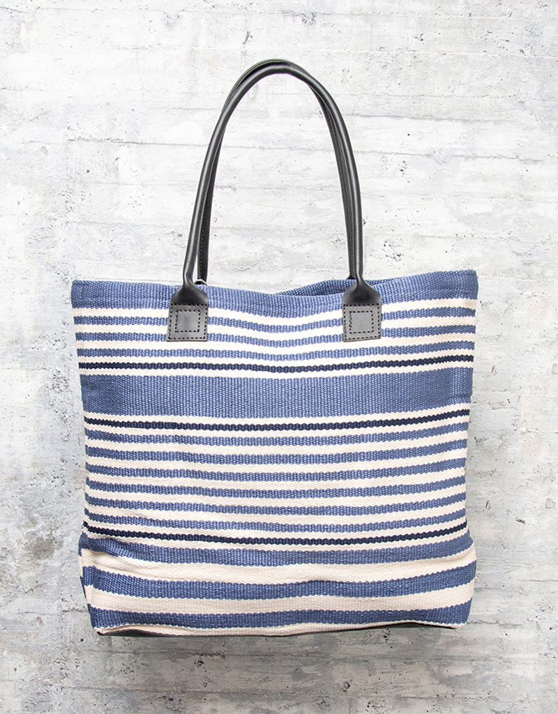 Dash & Albert Rugby Stripe Denim Indoor/Outdoor Tote Bag