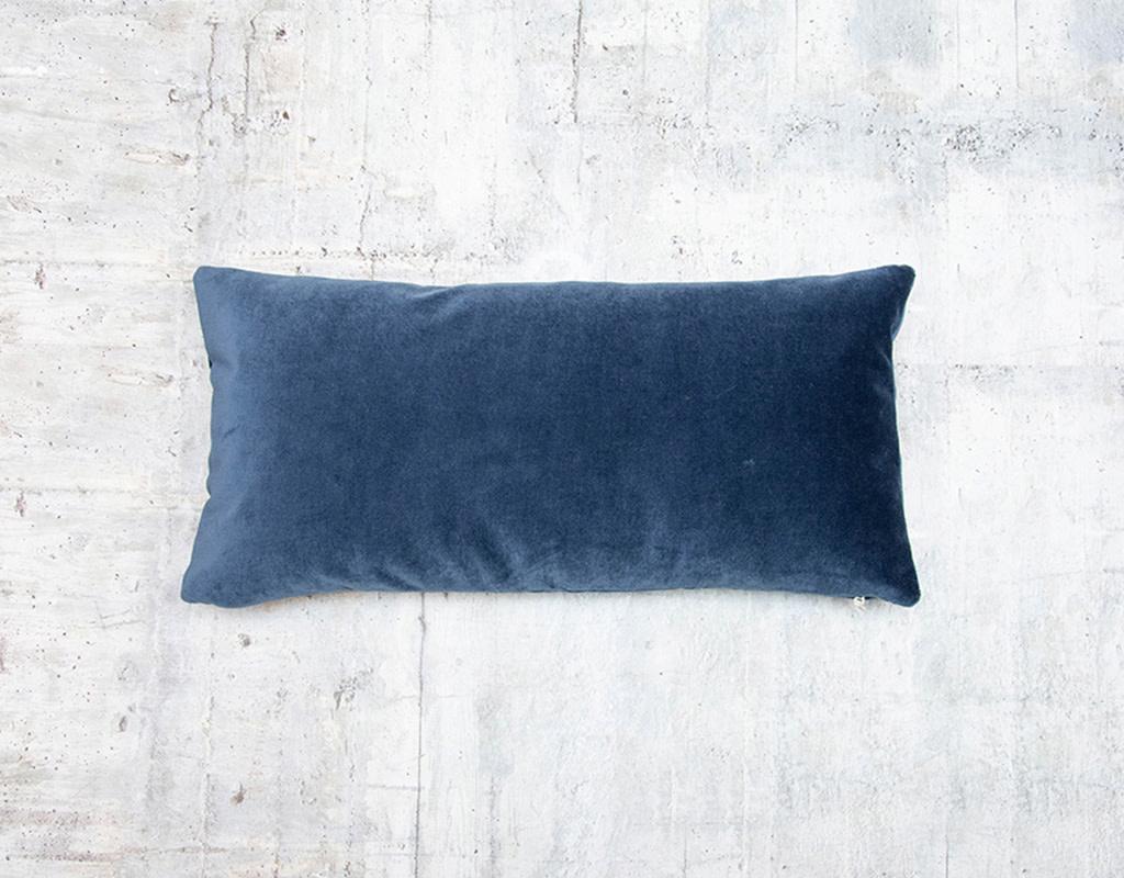 Kreatelier Velvet Pillow in Blue 10 x 20in
