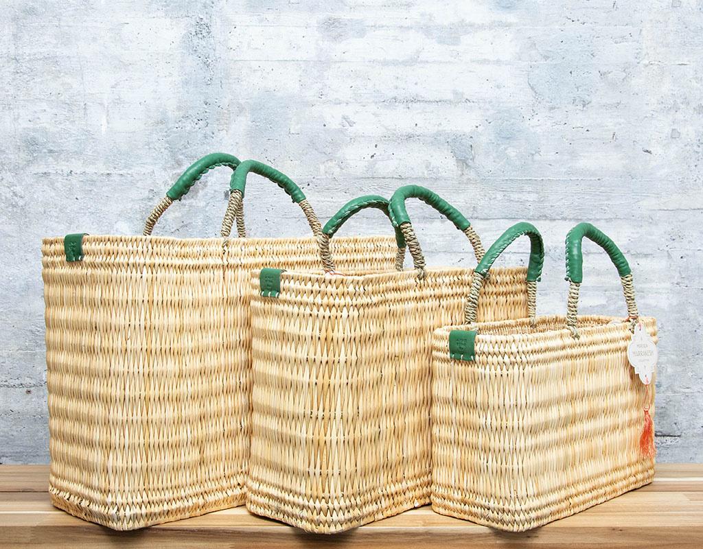 Mer-Sea & Co Medina Market Basket with Jade Leather S