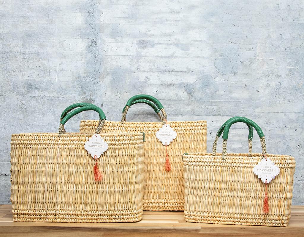 Mer-Sea & Co Medina Market Basket with Jade Leather M
