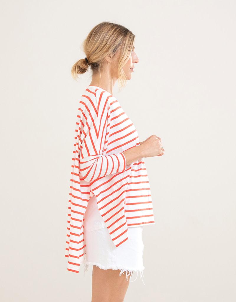 Mer-Sea & Co Catalina Slub Tee White/Coral Stripe