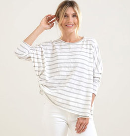 Mer-Sea & Co Catalina Slub Tee White/Grey Stripe