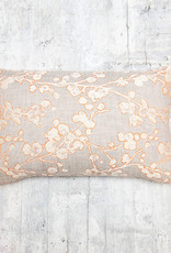 Kreatelier Cherry Blossom Pillow  Grey and Orange 12 x 19in