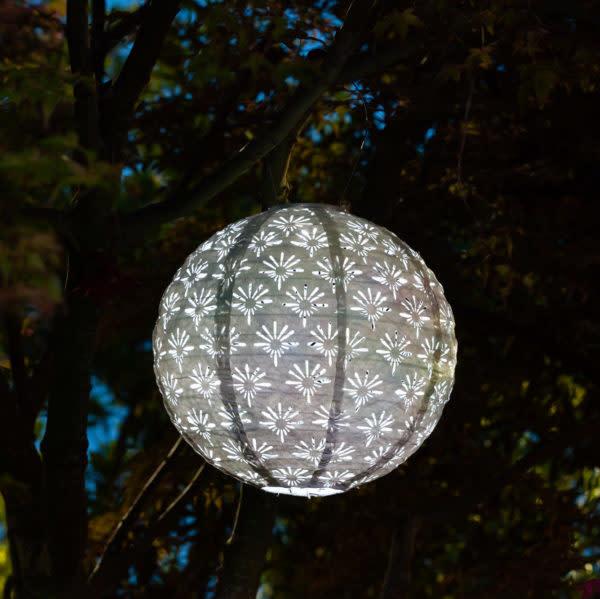 "Allsop Home and Garden Solar Lantern Deco Globe White 12"""