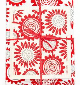 Esthetic Living Tea Towel and Swedish Dishcloth Sunflower Red