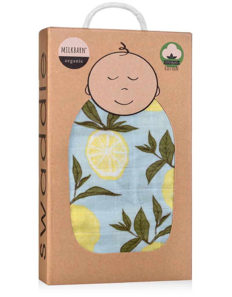 Milkbarn Organic Swaddle Blanket Yellow Lemon