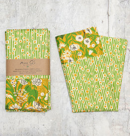Maz Q's Reversible Napkin Sunflower Green Set of 4
