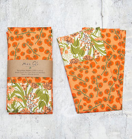 Maz Q's Reversible Napkin Tomato Orange Set of 4