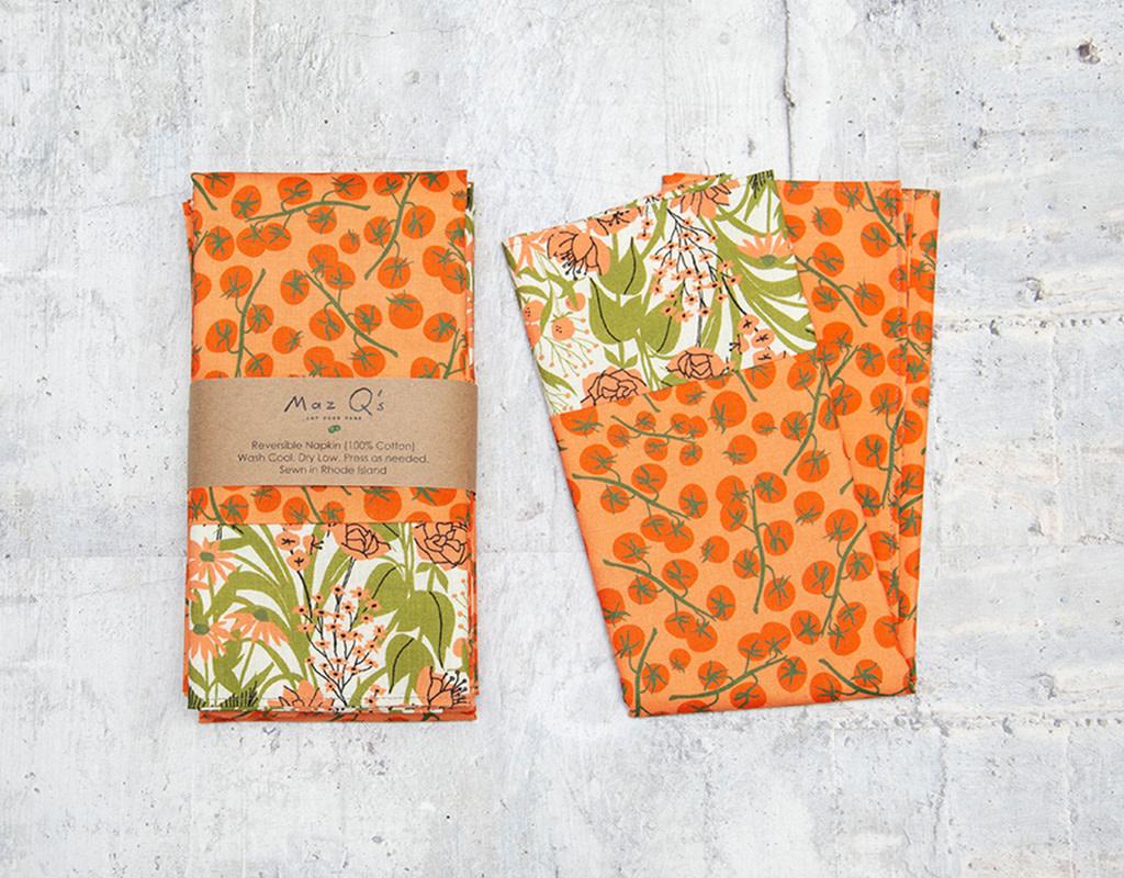 Maz Q's Reversible Napkin Tomato Orange Set of 4