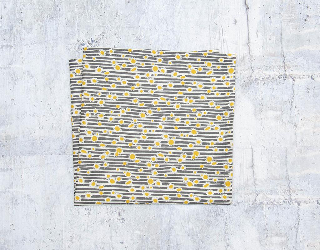 Maz Q's Napkin Sunflower Grey