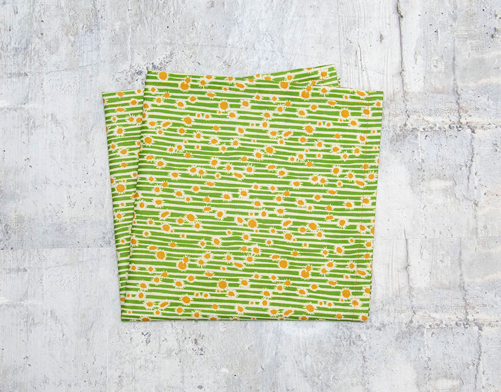 Maz Q's Napkin Sunflower Green Set of 4