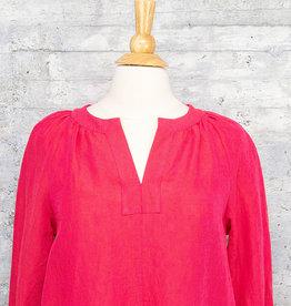 Q-Neel Linen Dress in Pink