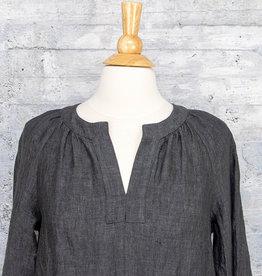 Q-Neel Linen Dress Charcoal