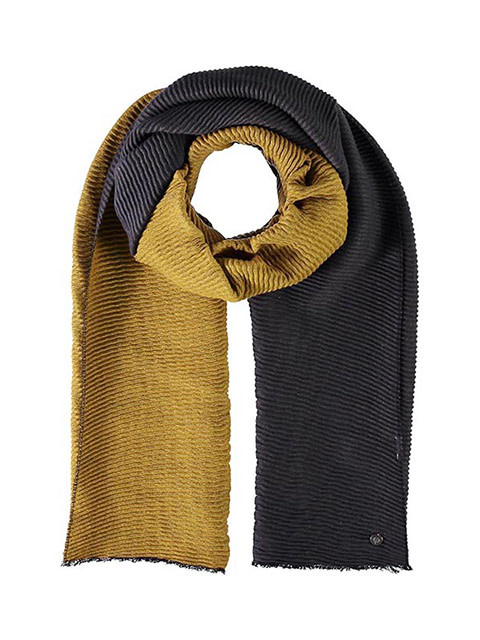 Fraas Scarf Double Face Plisse Mid Grey