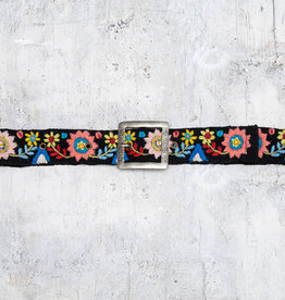 Tey-Art Aria Hand Embroidered Belt Black