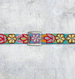 Tey-Art Dazzle Me Hand Embroidered Belt Turquoise