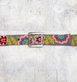 Tey-Art Beatrix Hand Embroidered Belt Grey