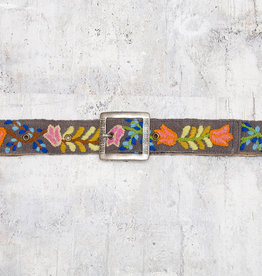 Tey-Art Tulip Hand Embroidered Belt Charcoal