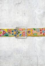 Tey-Art Flora Hand Embroidered Belt Mustard