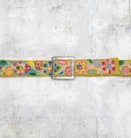 Tey-Art Flora Hand Embroidered Belt Mustard