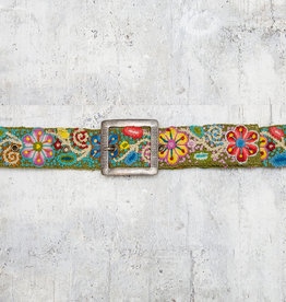 Tey-Art Flora Hand Embroidered Belt Olive