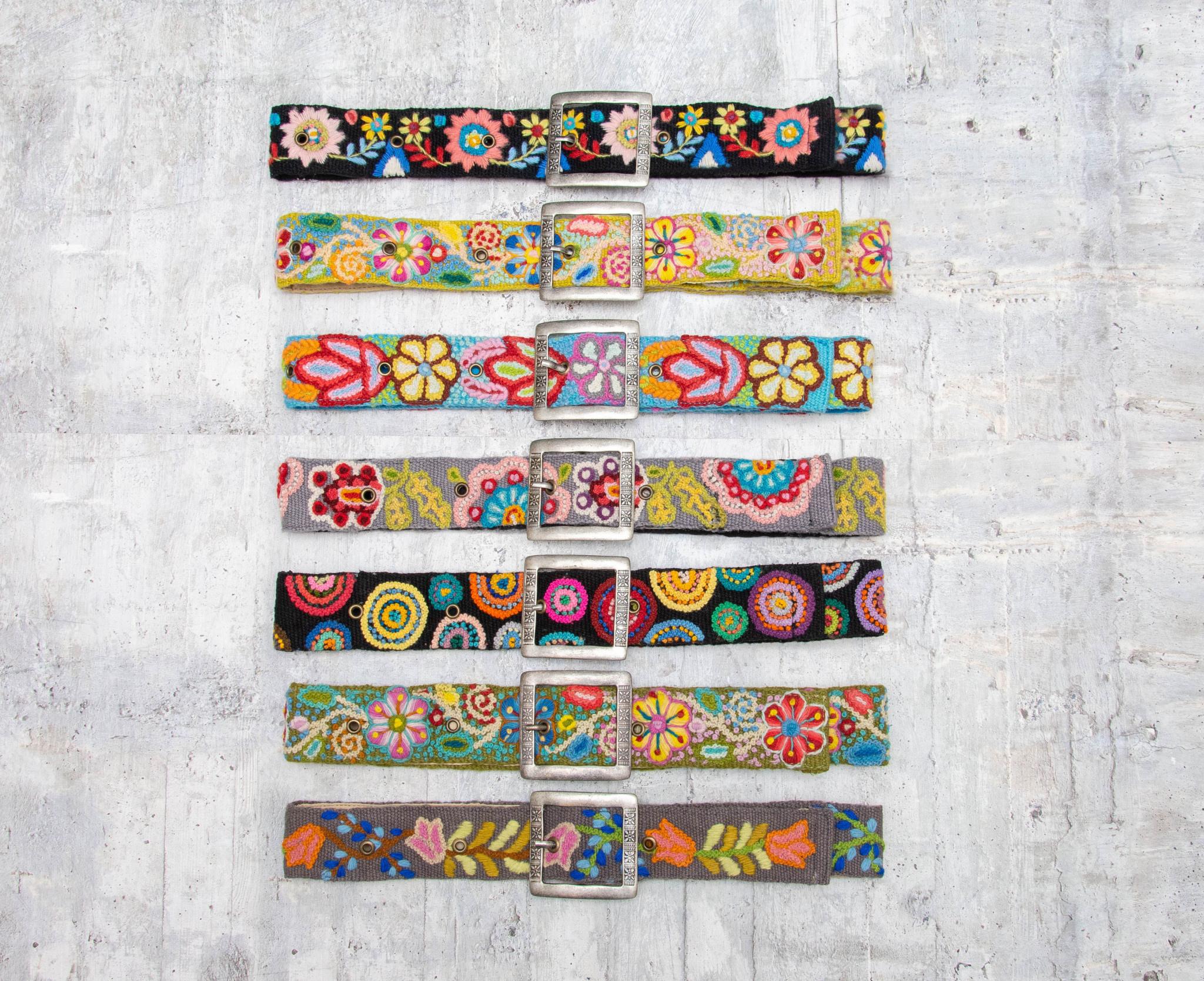Tey-Art Flora Hand Embroidered Belt Olive