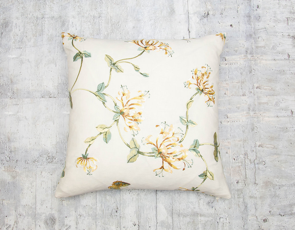 Kreatelier Embroidered Pillow Flowers and Butterflies 18 x 18in