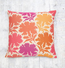 Kreatelier Floral Pillow in Pink and Orange 17 x 17in