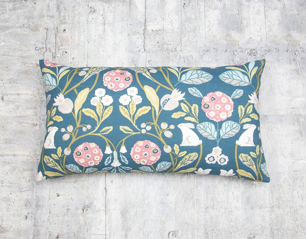 Kreatelier Forest Pillow in Blue 13 x 23in