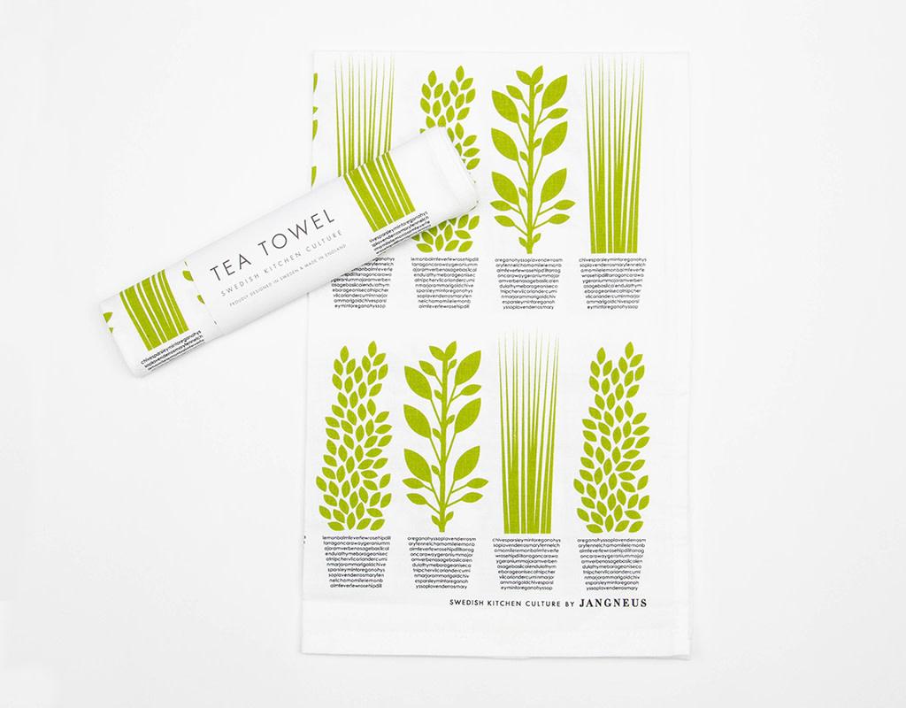 Esthetic Living Swedish kitchen Towels Herbs Green
