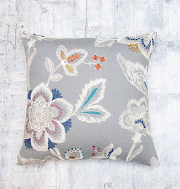 Kreatelier Embroidered Flower Pillow Grey 18 x 18in