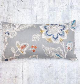 Kreatelier Embroidered Flower Pillow Grey 13 x 23in