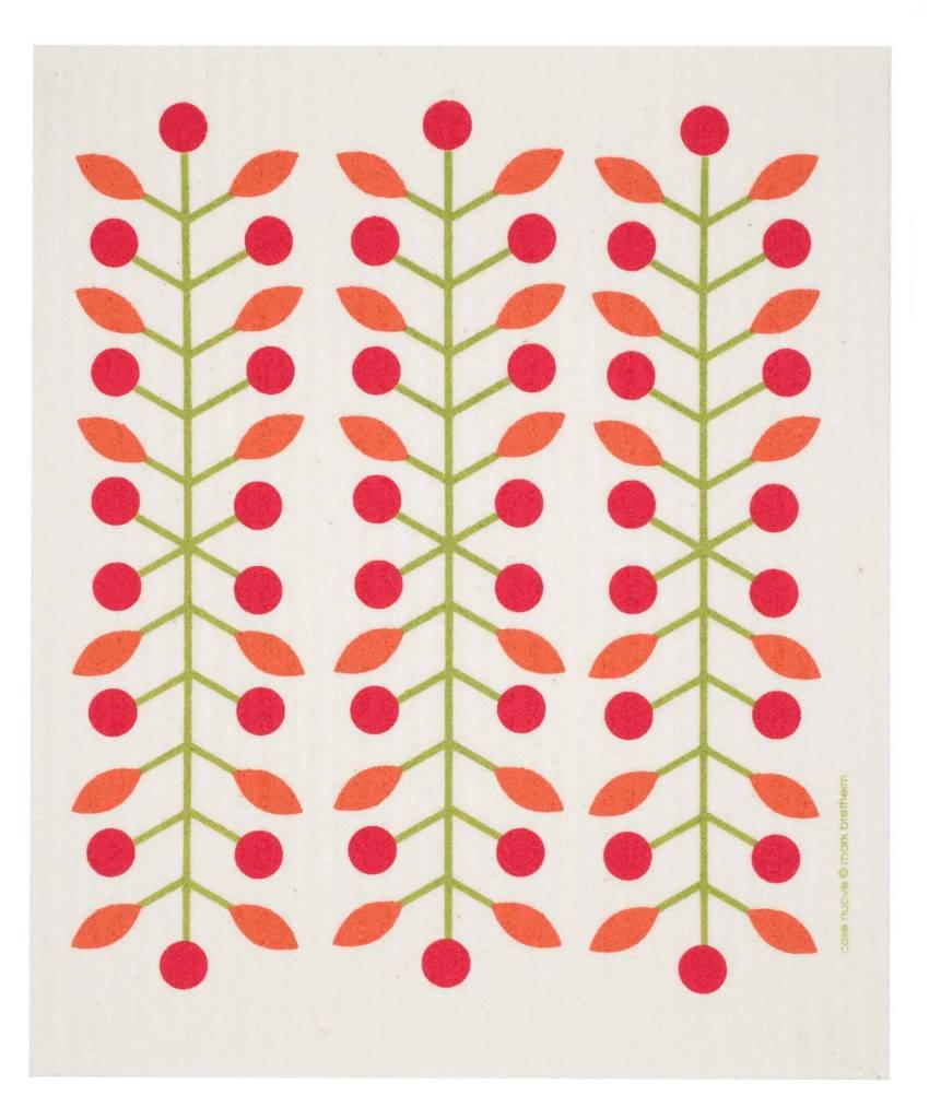Swedish Dischcloth Berry Branch Red