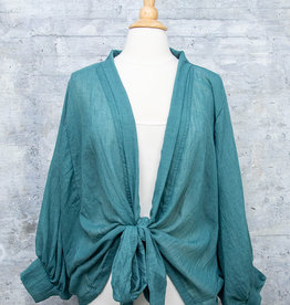 Jupee Blouse Solid Front Tie Teal