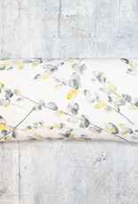 Kreatelier Watercolor Leaves Pillow in Grey and Mustard 10 x 20in