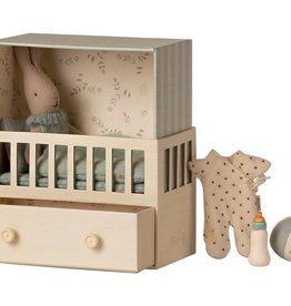 Maileg Baby Room with Micro Bunny Blue