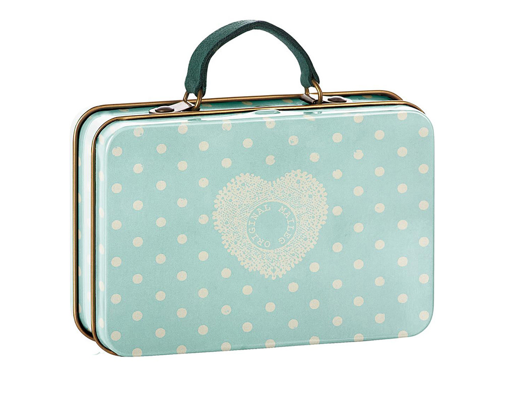 Maileg Travel Suitcase Mint Dots