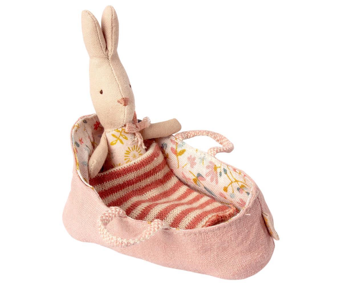 Maileg My Rabbit in Rose Carrycot