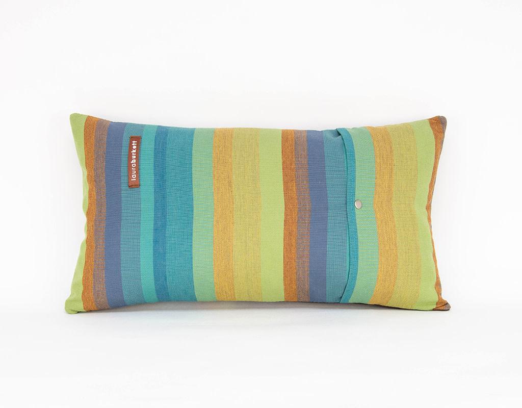 Laura Burkett Designs Cuscino Lumbar Pillow  Dark Chocolate /Blue 18 x 10in