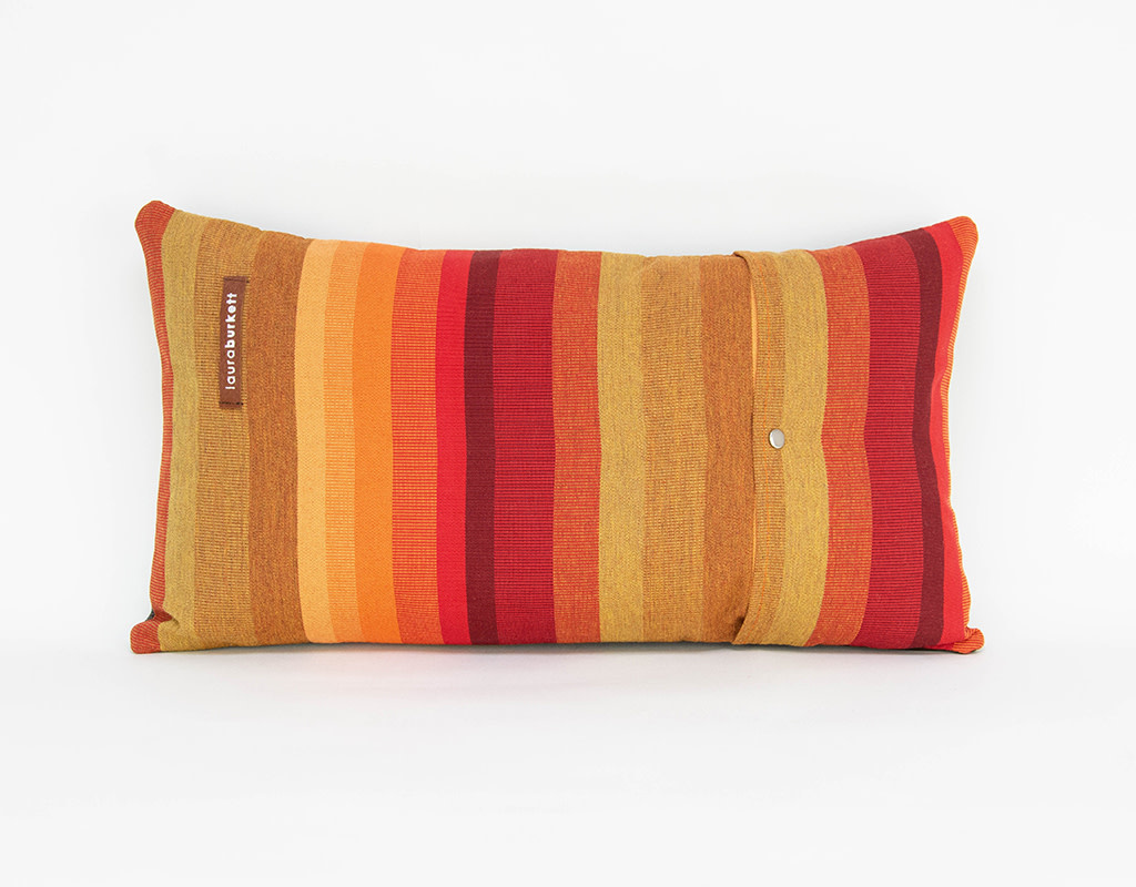 Laura Burkett Designs Cuscino Lumbar Pillow Dark Chocolate / Red 18 x 10in