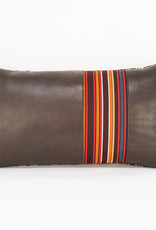 Laura Burkett Designs Cuscino Lumbar Pillow Dark Chocolate / Stripes Multi 18 x 10in