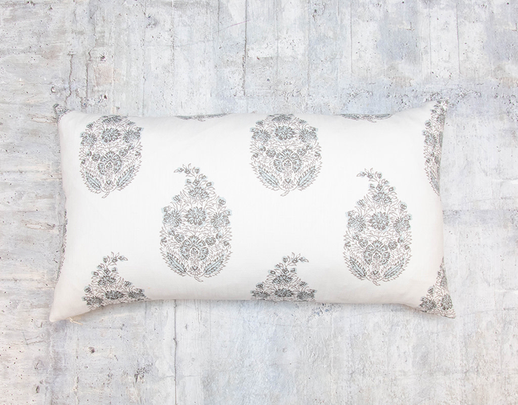 Kreatelier Block Print Pillow Grey and Blue 13 x 23in