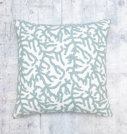 Kreatelier Hooked Coral Pillow in Blue 18 x 18in