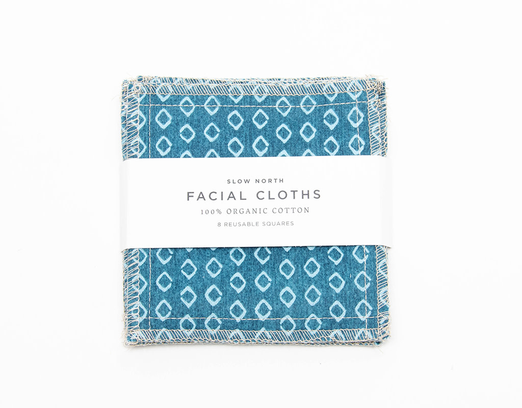 Slow North Reusable Facial Cloths Teal Set of 8