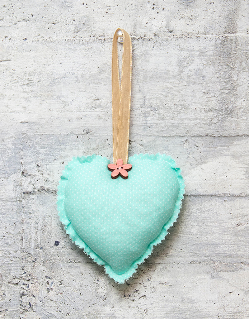 Kreatelier Fabric Heart Ornament Polka Dots Mint