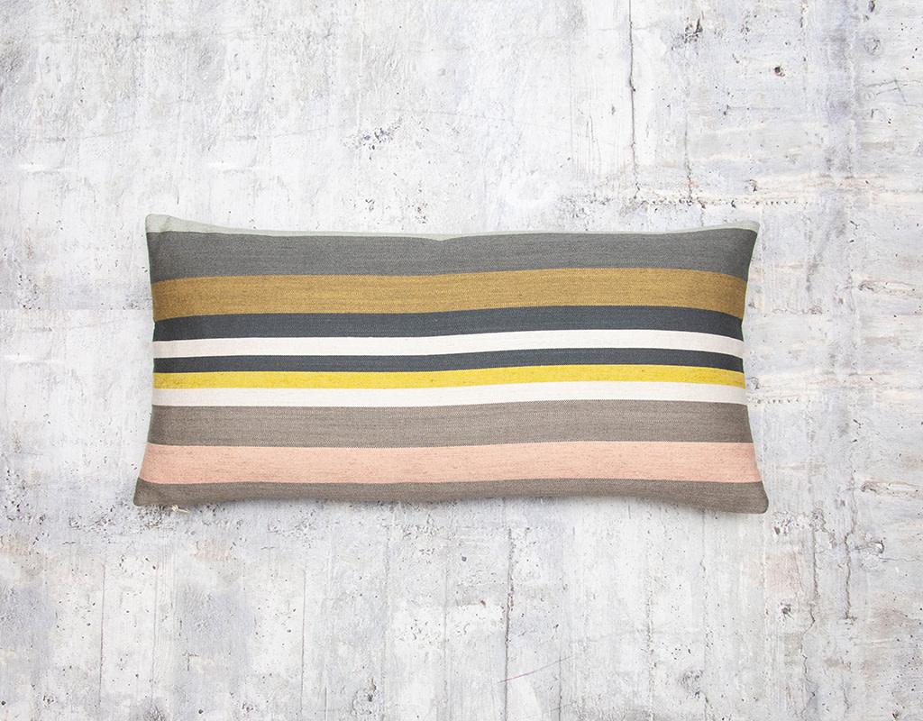 Kreatelier Striped Pillow in Greys 10 x  20in